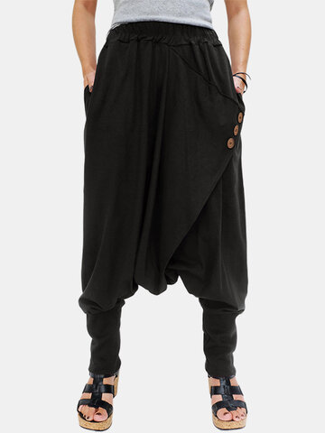 Cross Wrap Button Harem Pants
