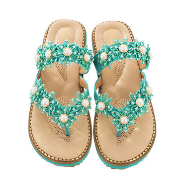 Flowers Decor Clip Toe Flats Slippers