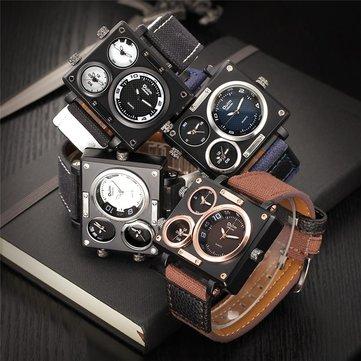 Oulm Punk Тканевый ремешок с несколькими часовыми поясами Квадратные спортивные часы Модные кварцевые мужские часы