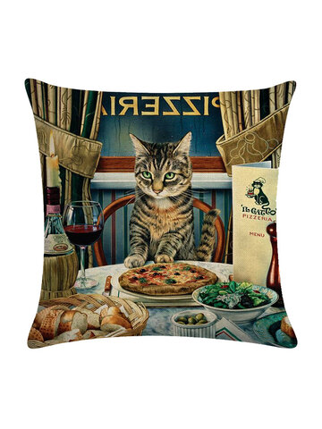 Vintage Style Persian Cat Printed Linen Cushion Cover