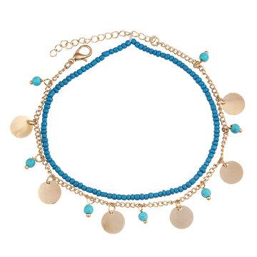 Boho Beads Coin Pendant Anklet