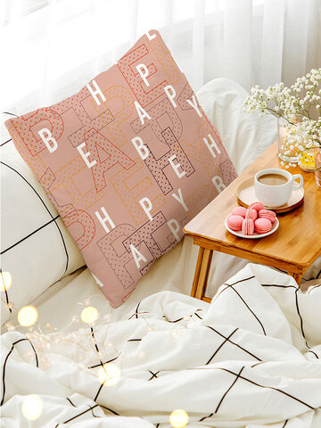 1PC Simple Letter Pattern Soft Colorful Pillow Home Sofa Car Lying Throw Cushion Cover