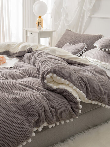 Double Side Dehair Angora Crystal Velvet Bedding Set