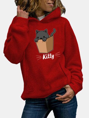 Kitty Cat Print Casual Hoodie