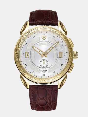 Luminous Display Leather Quartz Watch