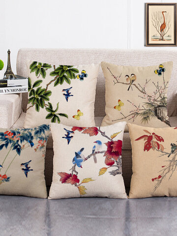 Ink Painting Flower Cotton Linen Pillowcases