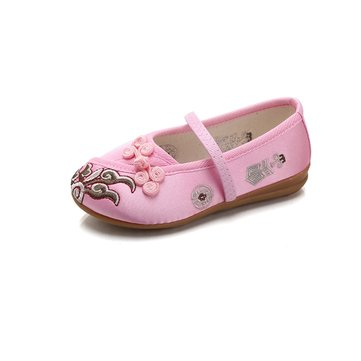 Chinoiserie Scarpe ricamate Small Pulsanti Casual Piattos For Girls