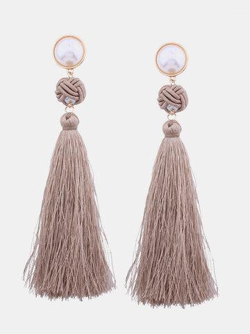 Fashion Pearl Tassels Long Earrings