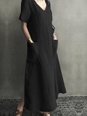 Vintage Short Sleeve V Neck Dress