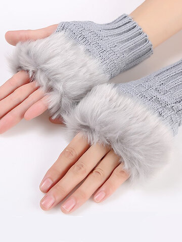 Women Winter Warm Half Finger Sleeve Gloves