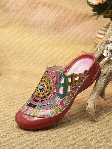 Socofy Bohemian Beading Hollow Out Mule Sandals
