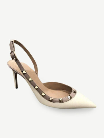 New Sexy High-heeled Sandals Shallow Mouth Baotou Word Buckle With Pointed Stiletto Single Shoes Rivet Female Side Air