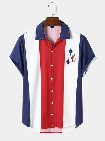 Pattern Colorblock Ethnic Style Shirt