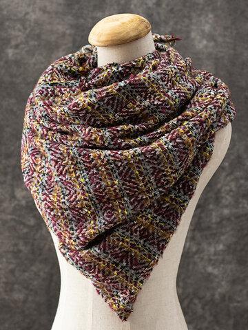 Women Scarf Shawl Wrap Buttoned Crochet Wrap
