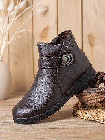 Botas de tornozelo de forro quente e macias e confortáveis