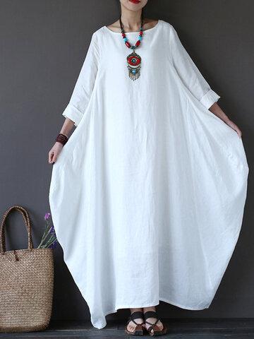 Solid Pocket Loose Maxi Dress