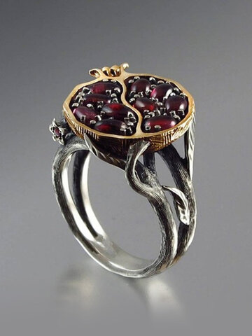 Garnet Tree Vine Ring