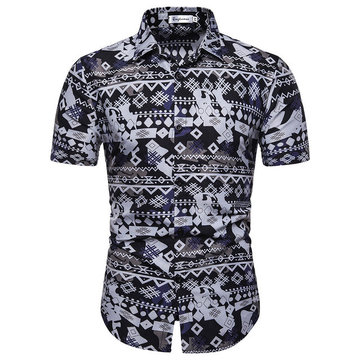 Season New Men's Creative Pattern Printing Wild Fashion Casual Short-sleeved Shirt Thin Section