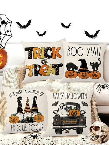 4 PCs Linen Pumpkin Clown Bat Pattern Halloween Cushion Cover Throw Pillow Cover Pillowcase