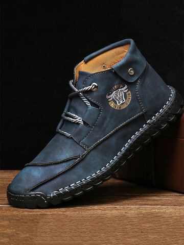 Menico Men Hand Stitching Comfort Soft Lace Up Microfiber Leather Boots