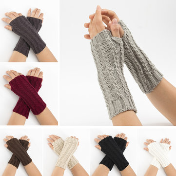 Women Winter Knitting Warm Half Finger Gloves