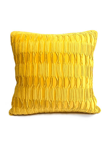 Solid Color Sofa Pillow Geometric Fold Flannel Piping Cushion Cover Living Room Bedside Backrest