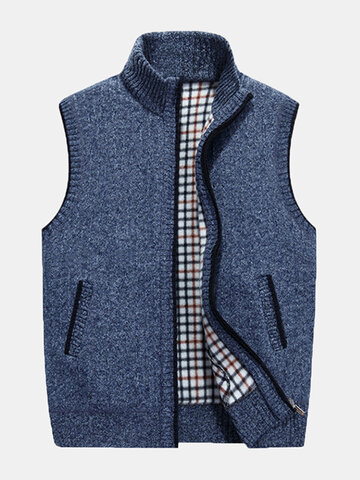 Stand Collar Casual Zipper Vest