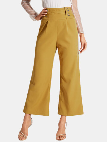 Solid Color Knotted Casual Pants