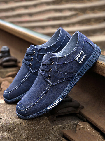 Men Canvas Breathable Casual Driving Shoes