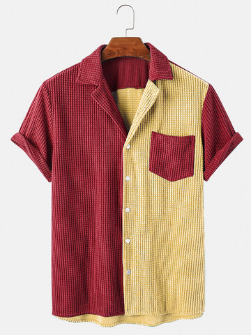 Colorblock Patchwork Corduroy Fashion Shirt
