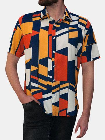 Mens Geometric Print Short Sleeve Casual Shirt