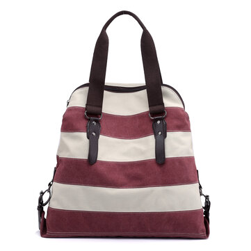 KVKY Striped Canvas Handbags Vintage Shoulder Bags Beach Bag