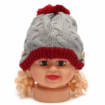 طفلة فتى الأطفال قبعة الكروشيه حك فضفاضة مزين زر غطاء أدفأ قبعة إيرفلاب قبعة