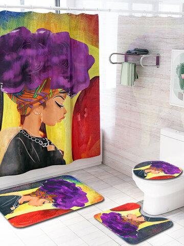 4 Pcs Set Creative Colorful Printing African Woman Purple Hair Galaxy Toilet Pad Cover Bath Mat Shower Curtain Set for Bathroom Decor