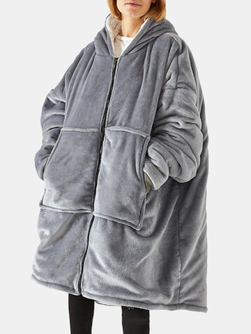 Oversize Flannel Wearable Blanket Hoodie