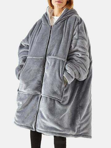 Felpa con cappuccio oversize in flanella indossabile