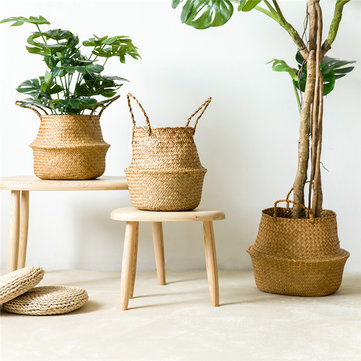 Folding Flower Pot Straw Storage Baskets