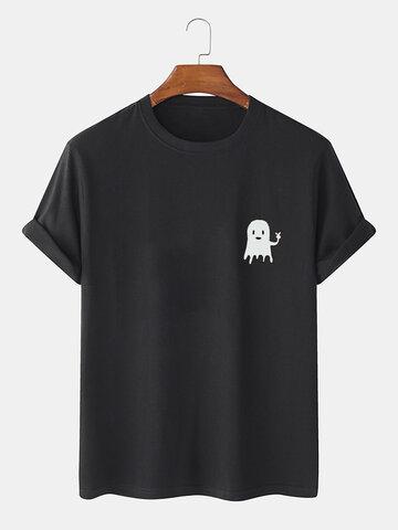 Cartoon Ghost Print T-Shirts
