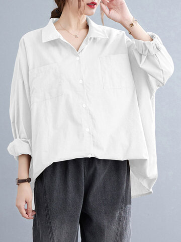 Solid Pocket Loose Button Shirt