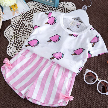2Pcs Girls Striped Shorts Sets 1Y-7Y