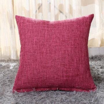 Solid Soft Cotton Linen Pillow Case Waist Cushion Cover Bags Home Car Decor