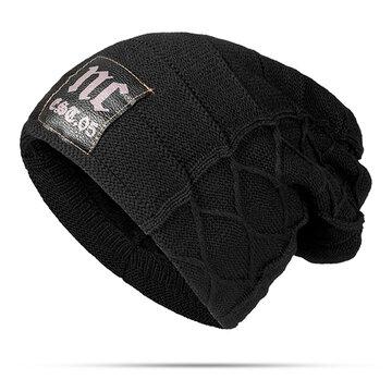Mens Plus Velvet Warm Knitted Beanie Hat
