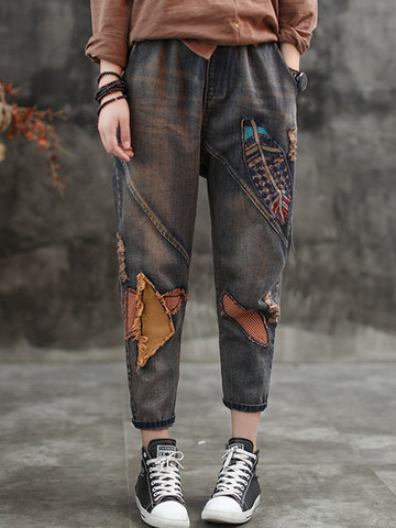 Patchwork Holes Nine Points Denim, Dark blue