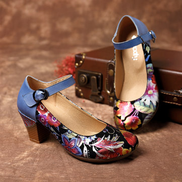 Bloom Flower Buckle Strap Pumps