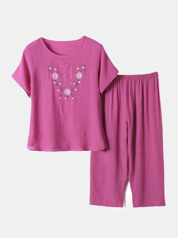 Floral Linen Loose Short Sleeves Pajamas