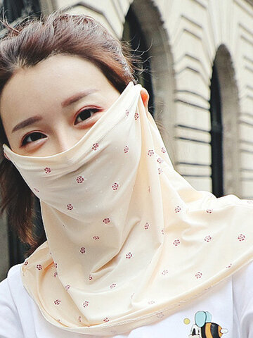 Floral Sunscreen Veil Summer Breathable Full Face Mask
