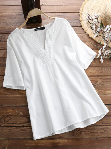 Solid Color V Neck Blouse, Black white white