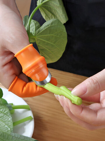Finger Protector Silicone Thumb Knife Protector Gears Cutting Vegetable Harvesting Knife Pinching Plant Blade Scissors Gloves