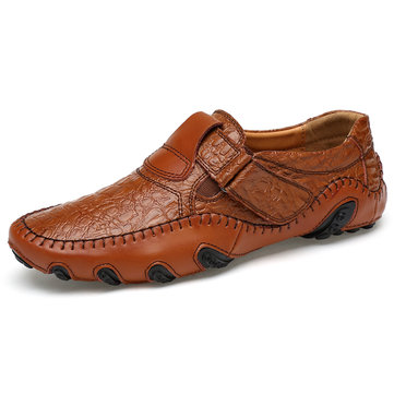Uomo Mocassini Loafers Casual in Pelle Vera a Manofatto con Suola Morbida