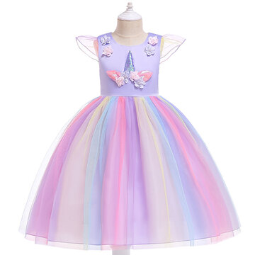 Unicorn Girls Princess Vestido para 3-13Y